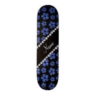 Personalized name blue glitter flowers 20.6 cm skateboard deck
