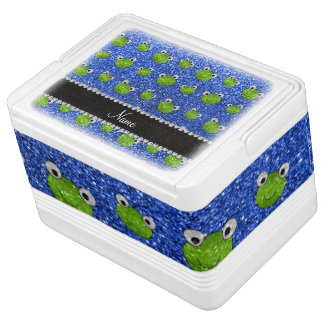 Personalized name blue glitter frogs igloo cooler