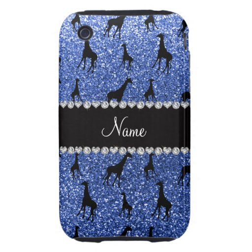 Personalized name blue glitter giraffes iPhone 3 tough cases