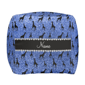 Personalized name blue glitter giraffes cube pouf