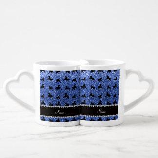 Personalized name blue glitter horses lovers mug