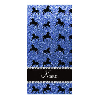 Personalized name blue glitter horses personalized photo card