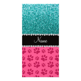 Personalized name blue glitter pink paws personalized photo card