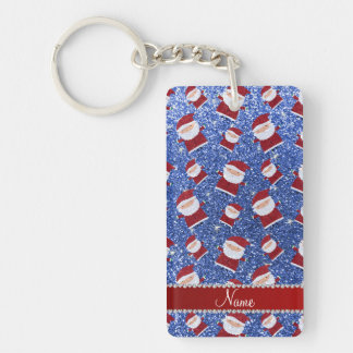 Personalized name blue glitter santas rectangle acrylic key chains
