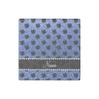 Personalized name blue glitter shamrocks stone magnet