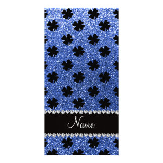 Personalized name blue glitter shamrocks picture card