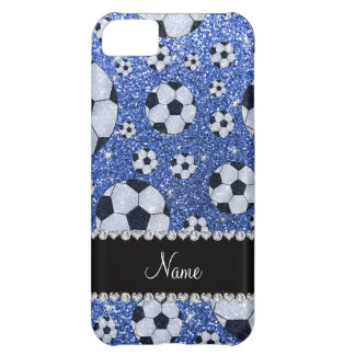 Personalized name blue glitter soccer balls iPhone 5C case