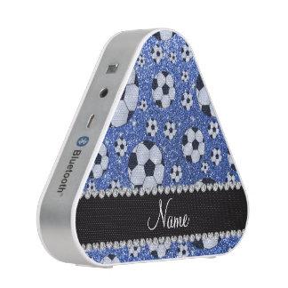 Personalized name blue glitter soccer balls speaker