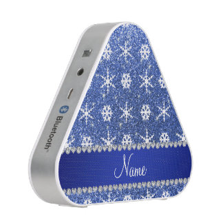 Personalized name blue glitter white snowflakes speaker