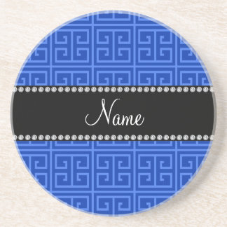 Personalized name blue greek key pattern coaster