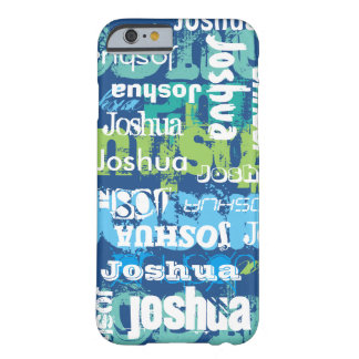 Personalized Name Blue Green Subway Art Barely There iPhone 6 Case