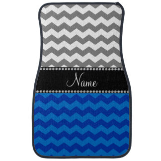 Personalized name blue grey white chevrons car mat
