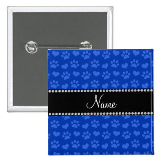 Personalized name blue hearts and paw prints 15 cm square badge