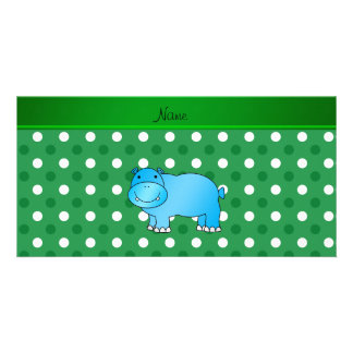 Personalized name blue hippo green white polka dot customized photo card