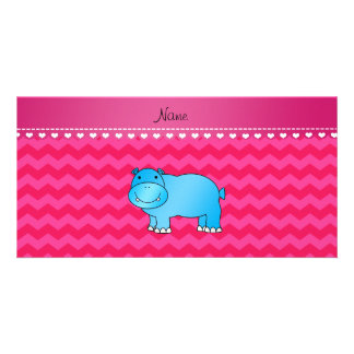 Personalized name blue hippo hot pink chevrons picture card