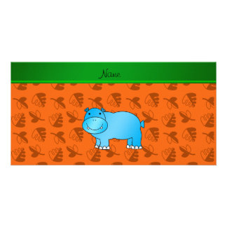 Personalized name blue hippo orange leaves customized photo card