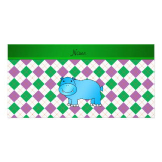 Personalized name blue hippo purple green argyle customised photo card