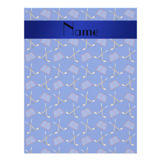 Personalized name blue hockey pattern 21.5 cm x 28 cm flyer