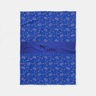 Personalized name blue hockey pattern fleece blanket