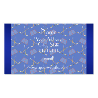Personalized name blue hockey pattern pack of standard business cards