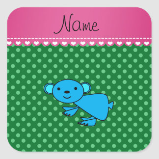 Personalized name blue koala green polka dots square stickers
