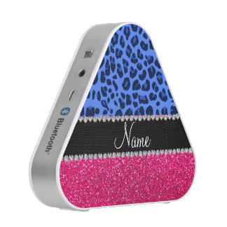 Personalized name blue leopard pink glitter
