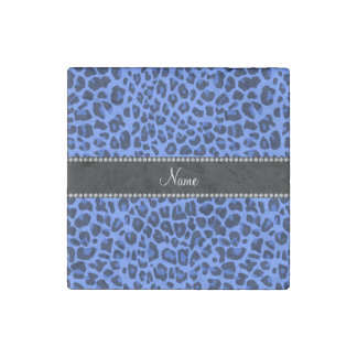 Personalized name blue leopard print stone magnet