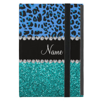 Personalized name blue leopard turquoise glitter iPad mini case