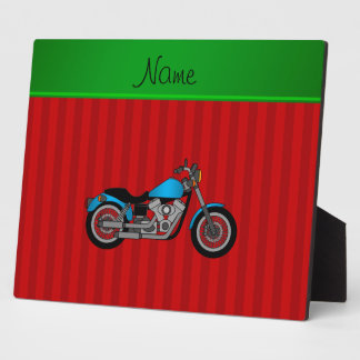 Personalized name blue motorcycle red stripes photo plaques