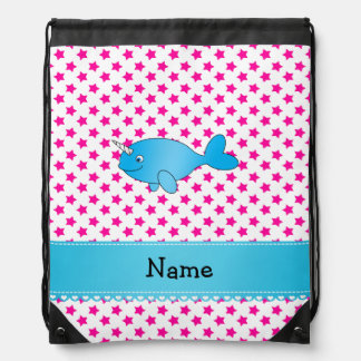 Personalized name blue narwhal pink stars drawstring bag