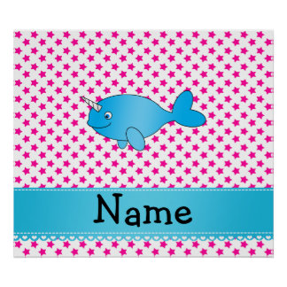 Personalized name blue narwhal pink stars posters