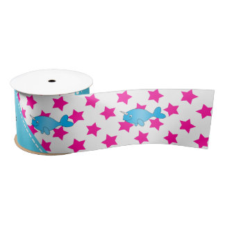 Personalized name blue narwhal pink stars satin ribbon