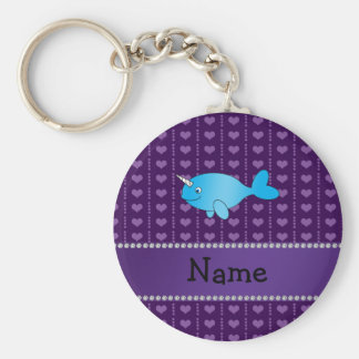 Personalized name blue narwhal purple hearts key ring