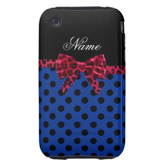 Personalized name blue polka dots pink leopard bow tough iPhone 3 case