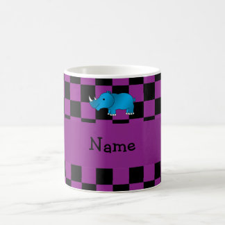 Personalized name blue rhino purple checkers coffee mug