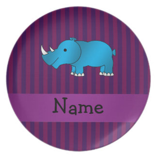 Personalized name blue rhino purple stripes plate
