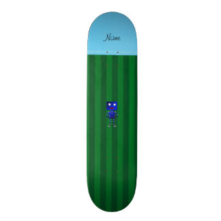Personalized name blue robot green stripes skate boards