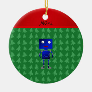 Personalized name blue robot green trees christmas ornament