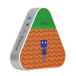 Personalized name blue robot orange waves