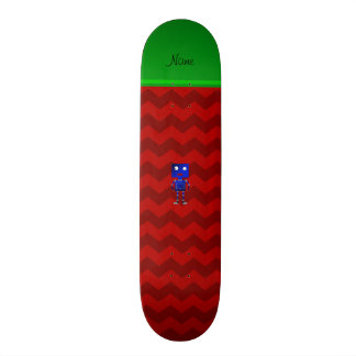 Personalized name blue robot red chevrons skate deck