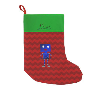 Personalized name blue robot red chevrons small christmas stocking