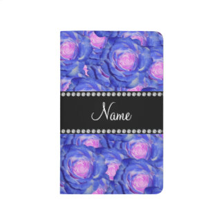 Personalized name blue roses journals
