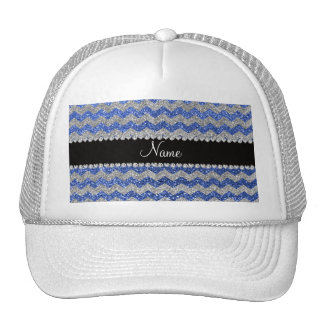 Personalized name blue silver glitter chevrons trucker hat