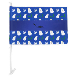 Personalized name blue snowman christmas car flag