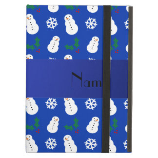 Personalized name blue snowman christmas iPad folio cases