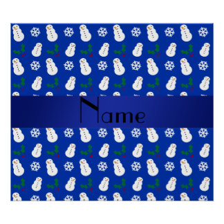 Personalized name blue snowman christmas posters