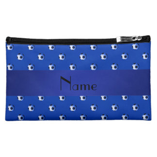 Personalized name blue soccer balls makeup bags