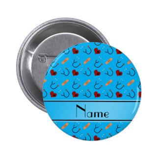 Personalized name blue stethoscope bandage hearts 6 cm round badge