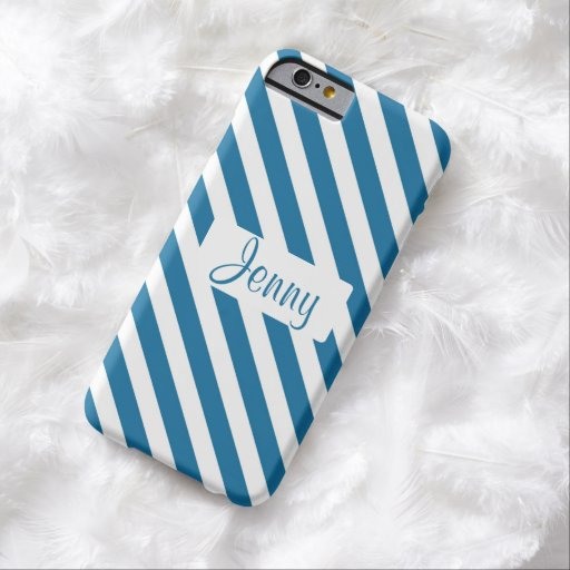 Personalized name blue stripe iPhone 6 case