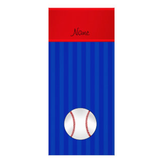 Personalized name blue stripes baseball custom rack card